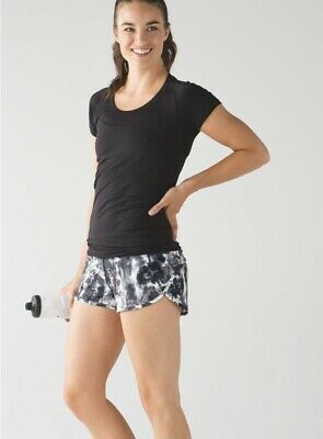 $ CDN77.77 • Buy Lululemon Run Times Shorts Size 10 Black Dusty Mauve Floral Run Speed Up