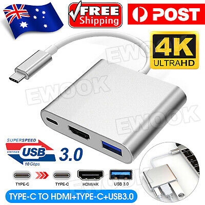 AU12.95 • Buy 3IN1 USB 3.1 Type-C USB-C To Female HUB 4K HD HDMI Data Charging Cable Adapter