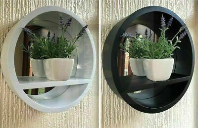 New Round Mirror With Shelf Wall Mounted Porthole Bathroom Bedroom Home Decor  • 16.99£