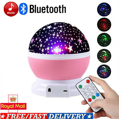 Bluetooth Music Remote Night LED Star Sky Light Rotating Projector Lamp For Kids • 14.99£