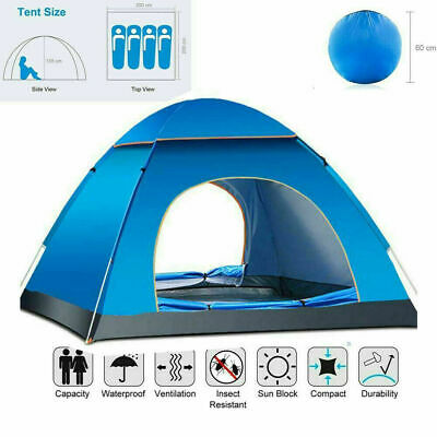 AU39.99 • Buy 3-4 Man Person Pop Up Tent Family Festival Camping Auto Hiking Beach Dome Tent