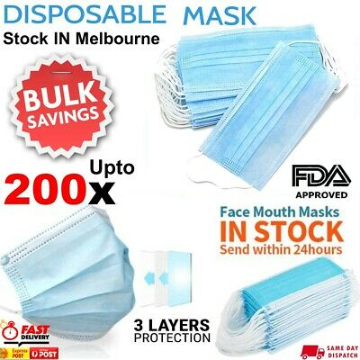 AU34.95 • Buy Face Mask 3 Ply Layer Daily Protective Anti Bacterial Filter Mouth Masks 50-200x