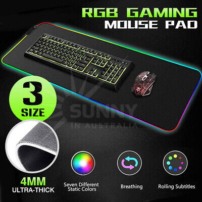AU20.85 • Buy RGB Gaming Mouse Pad Mat Led Rubber Base Computer Keyboard For MacBook PC Laptop