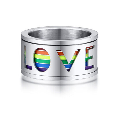 Silver Rainbow Men Man Ring Pride Gay Hollow Love Spinning Spinner Stress Relief • 5.99£