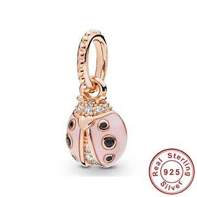 Genuine Sterling Silver Pink Ladybug Dangle Floating Locket Charm & Gift Pouch • 8.73£