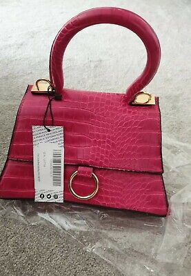 NEW Women's Boohoo Croc Curved Base Small Grab Bag Pink • 4.99£