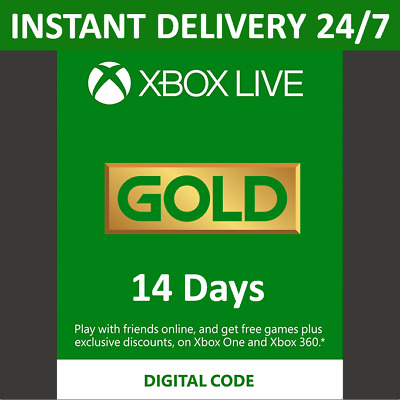 $ CDN3.40 • Buy 14 Day Xbox Live Gold Trial Membership Code - 2 Weeks - Xbox One - Instant 24/7
