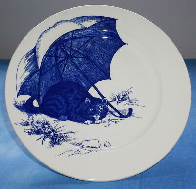 Poole Pottery National Trust Blue And White CAT PLATE • 12.99£