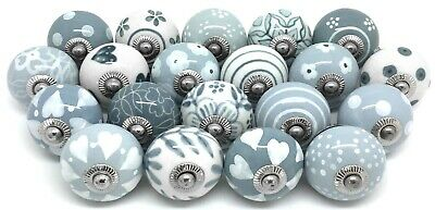 SET OF 20 CERAMIC KNOBS Drawer Pulls Cupboard Handles Door Grey Shabby Chic • 38.50£