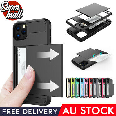 AU7.49 • Buy IPhone 11 Pro Max X XR XS 8 7 6 5 SE Plus Slide Armor Case With Card Slot Holder