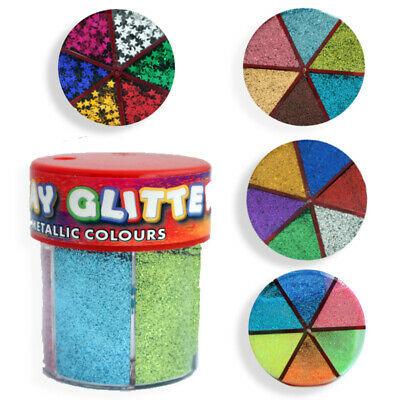 Kids Craft Glitter Tubs Pots Shaker Multi Colours Neon Generic Foil Stars Crafts • 6.50£