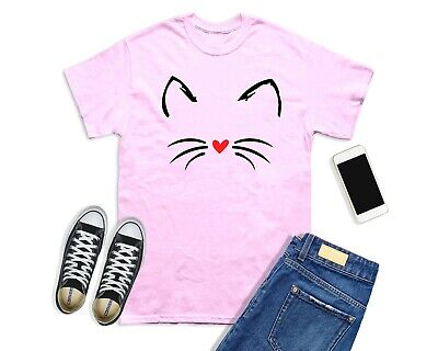 £6.99 • Buy Cute Cat Face T-shirt Beautiful Heart Nose Cute Gift Tops