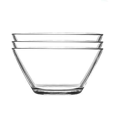 £6.99 • Buy Glass Serving Bowls Set Of 3 Mixing Bowl 12cm Clear