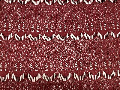 Crochet Lace Dress Fabric, Per Metre - Burgundy • 4.10£