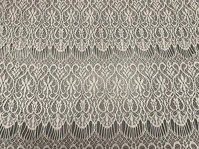 Crochet Lace Dress Fabric, Per Metre - Ivory • 4.10£