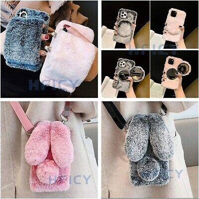 AU11.56 • Buy Lovely Girls' Soft Rabbit Bunny Fluffy Plush Phone Cases With 2 Tempered Films A