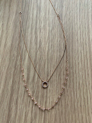 Z For Accessorize Rose Gold Plated Layered Beaded Necklace • 8£