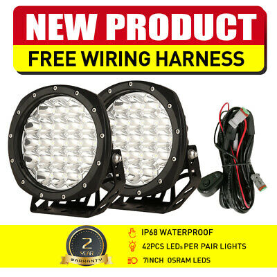 AU79.93 • Buy NEW Pair 7  OSRAM Spot LED Driving Lights Black Round Offroad Truck 4WD ATV UTE
