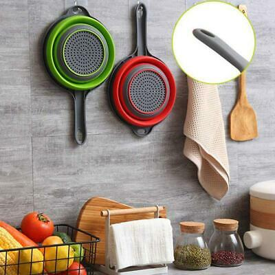 1*Collapsible With Handle Drain Filter Foldable Silicone Colander Washing Basket • 3.61£