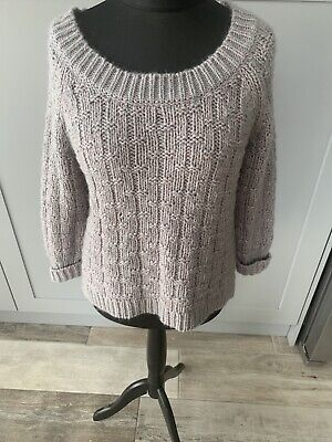 Poetry Grey Chunky Knit Slouchy Over Sized Jumper Cotton Mohair Size Small • 21.99£