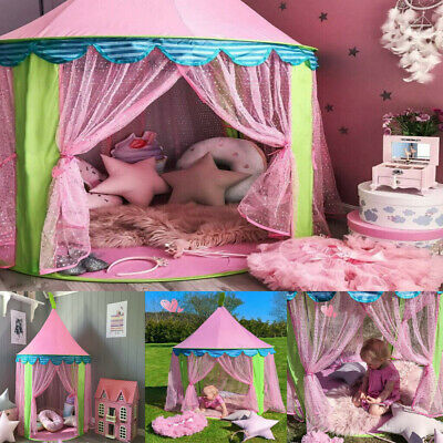 Kids Pop Up Castle Tent Princess Fairy Playing Tent Playhouse Fun Indoor Outdoor • 16.99£