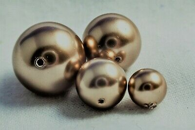 40 Genuine Swarovski Bronze 8mm Round 5810 Crystal Pearls BEST PRICE 15p EACH • 4.50£