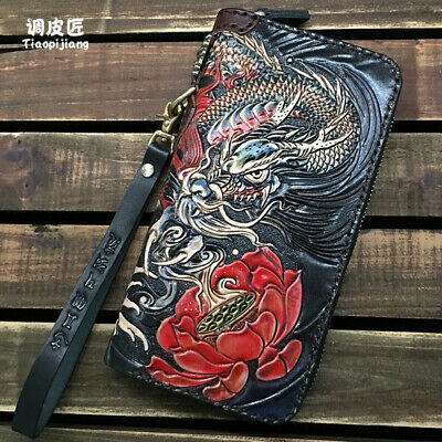 $98 • Buy Chinese Tranditional Dragon Long Wallet Genuine Leather Handmade Mens Wallet