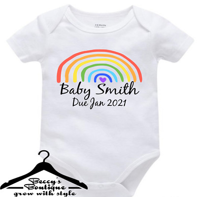Personalised Baby Grow Vest Rainbow Baby Name Pregnancy Announcement Due Date • 5.79£