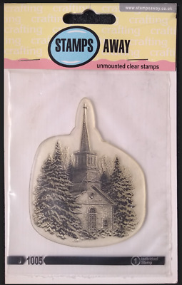 £7.99 • Buy Stamps Away Clear Stamp J1009 Winter Church Scene Snowy Christmas Countryside