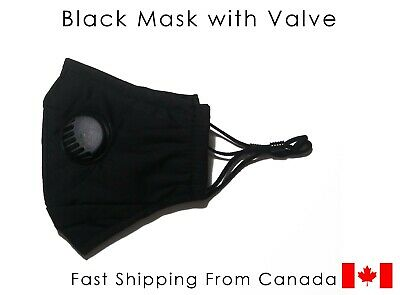 $ CDN6.99 • Buy Black Face Mask With Valve, Nose Wire, Filter Pocket + 2 PM2.5 Ships From Canada