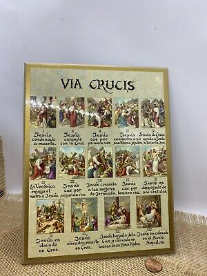 Vintage Via Crucis Icon Plaque 12 Stations Of The Cross Crucifiction Of Jesus • 10.27£