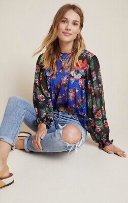 $ CDN123.68 • Buy Anthropologie Bl^nk London Miranda Peasant Blouse Floral Eclectic SMALL Blue