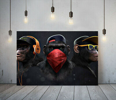 Banksy 3 Swag Monkeys -deep Framed Canvas Wall Art Picture Paper Print- Orange • 14.99£