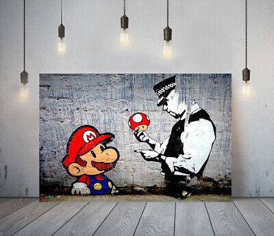 Banksy Mario And Cop -deep Framed Canvas Wall Art Picture Paper Print- Red Blue • 11.99£