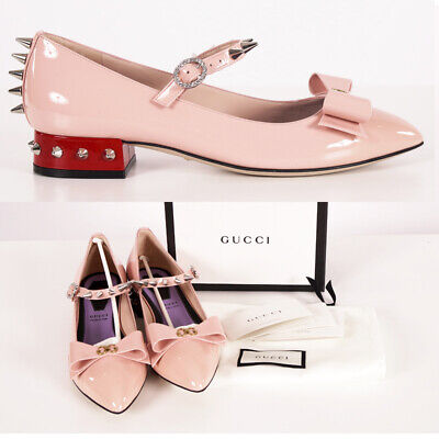 £356.91 • Buy 37.5 NEW $1250 GUCCI Pink Patent Leather SPIKED MARY JANE Pumps Low Heels FLATS