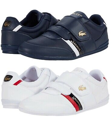 LACOSTE Misano Strap 0120 1 Men's Casual Leather Loafer Shoes Sneakers Navy Wht • 72.35£