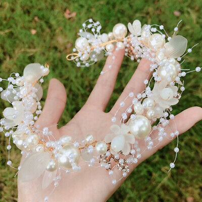 $ CDN6.27 • Buy Pearls Flower Wedding Hair Crystal Bridal Hair Accessories Headband Headpiece