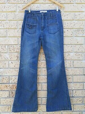 AU29 • Buy COUNTRY ROAD Vintage 90s Wide Flare Hipster Jeans Sz 10 Cotton Faded Denim Retro