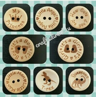 Childrens Buttons - Wood -  Baby - Child - Boy - Girl - 15mm - 25mm Sewing 🇬🇧  • 2.99£