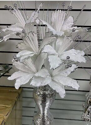 Bling Silver Mosaic Mirror Decorated 26cm Vase With 6 White Flowers • 28.99£