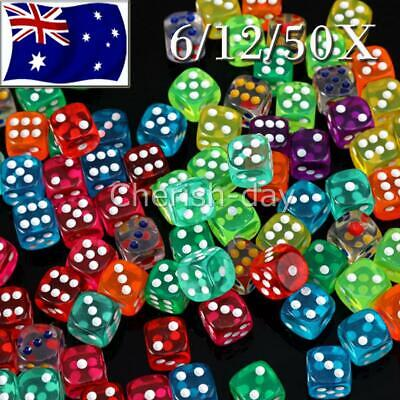 AU25.69 • Buy 6/12/50X Six Sided Square Opaque 16mm D6 Dice - Fun Dices Perfect For All Games