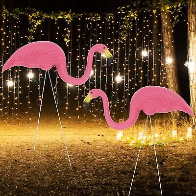 £9.39 • Buy 2x Garden Pink Flamingo Bird Lawn Pond Figurine Ornaments Patio Statue Figure UK