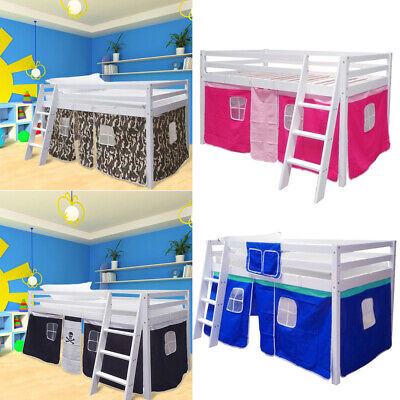 Shorty Mid Sleeper Cabin Single Bed Loft Bunk Tent Girls Boys White Frame W/Tent • 148.95£