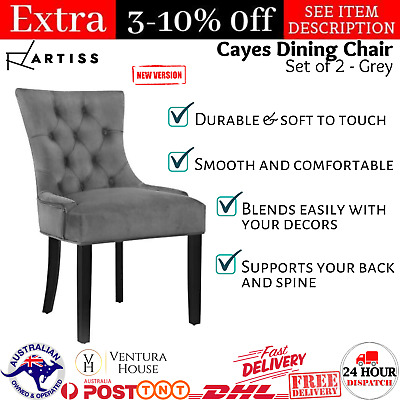 AU206.01 • Buy Artiss 2x Dining Chairs French Provincial Retro Wooden Velvet Fabric Chair Grey