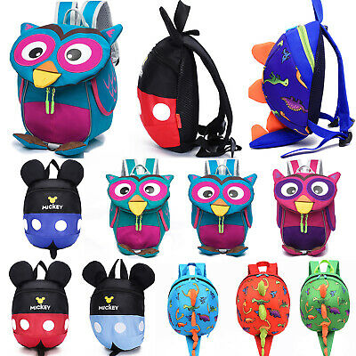 Boys Girls 3D Dinosaur Mickey Safety Mini Bags Reins Toddler Backpack Anti-Lost • 10.09£