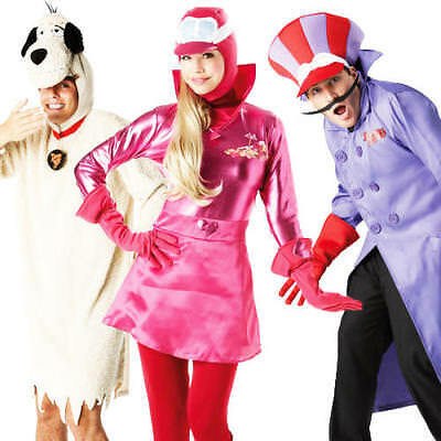 Deluxe Wacky Races Costumes Mens Womens Fancy Dress Cartoon Adult Costume Outfit • 37.49£