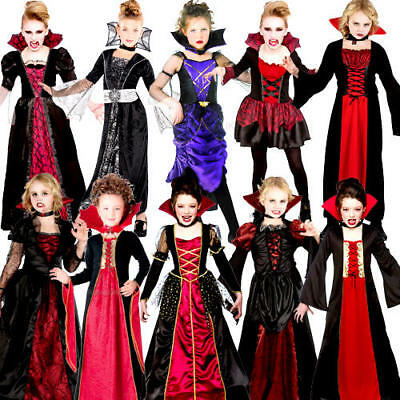 £13.99 • Buy Vampiress Girls Halloween Fancy Dress Vampire Kids Childrens Childs Costume New