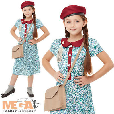 40s Wartime Girls Fancy Dress 1940s WW2 Kids Historical Book Day Costume Outfit • 12.49£