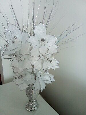 Silver Bling Mosaic Romany Mirror Decorated 30cm Vase With 6 White Flowers • 29.99£