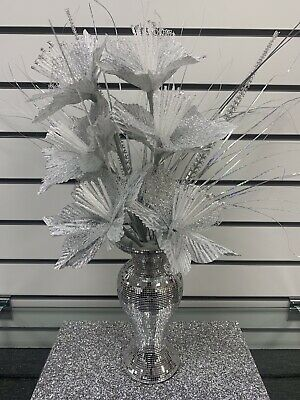 Bling Silver Mosaic Mirror Decorated 26cm Vase With 6 Silver Flowers • 28.99£